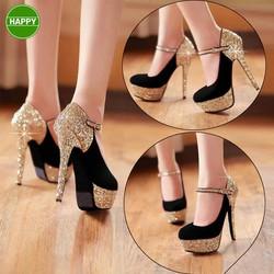 Giày cao gót quai kim tuyến