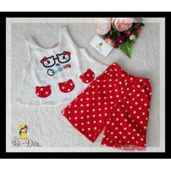 ĐỒ bộ kitty chấm bi đỏ cho bé gái