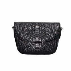 Túi đeo chéo nữ da bò vân cá sấu cao cấp ELMI màu đen ETM542