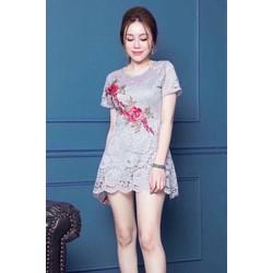 Jumpsuit short ren tay con thêu hoa _MỎ CHU SHOP