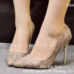 Giày cao gót mũi nhọn kim tuyến nhiều màu sang trọng-GX401