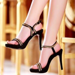 Giày cao gót Siletto quai mảnh vàng ánh kim GDX