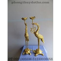 Đồ thờ đồng - Hạc H18 cách cụp cao 28 cm, đồng Dapha
