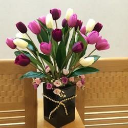 Hoa lụa trang trí - Hoa tulip bông to