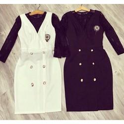 Set áo ren đen + váy yếm nút