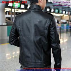 Áo khoác da nam phối túi khóa kéo sành điệu AKEN47