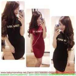 Đầm thun ôm body miumiu dễ thương DOV245