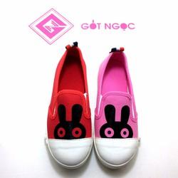 Giày vải bé gái in tai thỏ NG-01D