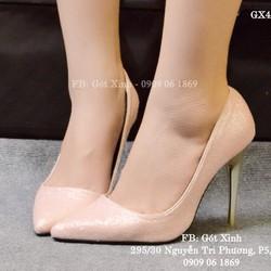Giày cao gót mũi nhọn kim tuyến hồng nữ tính-GX402
