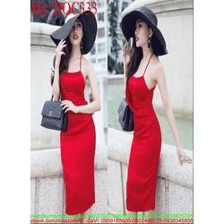 Đầm body 2 dây sexy màu đỏ sang trọng thời trang DOC333