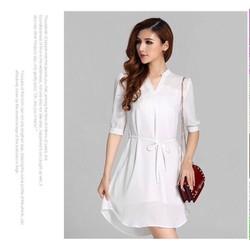 Đầm sơ mi trắng form rộng DNT386