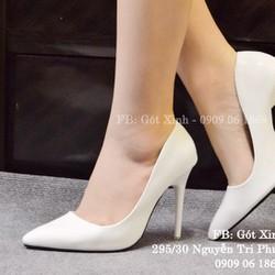 Giày cao gót mũi nhọn trơn 10p trắng-GX403