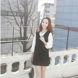 Hàng nhập_Set Đầm suông cổ V phối áo sơ mi _Phong cách Hàn Quốc_D24