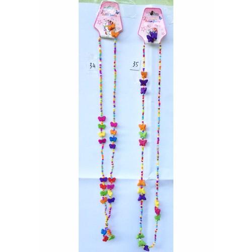 bộ dây chuyền và bông tai hạt nhựa nhiều màu hình bướm. TS34-35