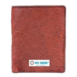 Bóp nam da đà điểu Huy Hoàng da bụng kiểu đứng màu nâu đỏ HH2409