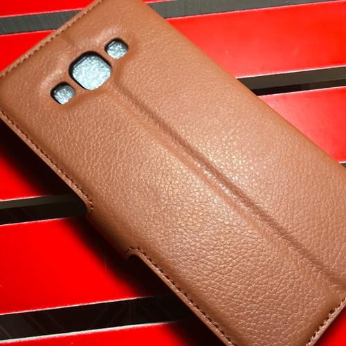 Samsung-Galaxy-E7 - Bao da PU có khe để thẻ cho điện thoại di động