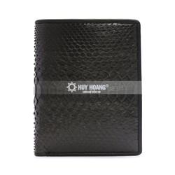 Bóp nam Huy Hoàng da trăn kiểu đứng màu đen HH2304