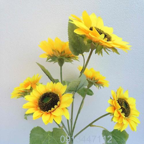 Hoa hướng dương 6 bông - hoa lụa trang trí