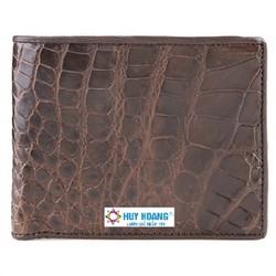 Bóp nam Huy Hoàng da cá sấu ngăn sau màu nâu đất HH2245