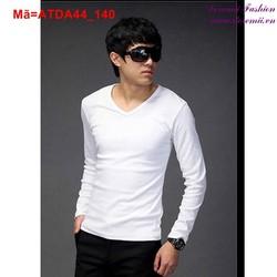 Áo thun tay dài cổ tim màu trắng đơn giản cực nam tính ATDA44