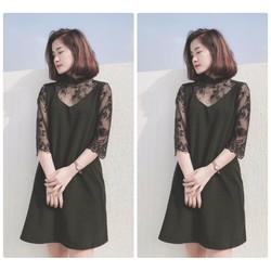 Đầm suông phối tay ren