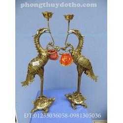 Hạc H38 cánh cụp cao 43cm đồng vàng Đapha, đồ thờ đồng