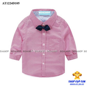 Size 9-14. Áo sơmi tay dài kèm nơ màu hồng đỏ - AT1224D105