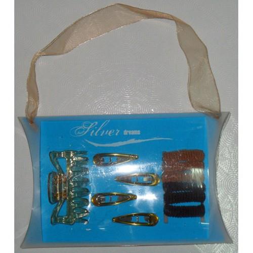 Bộ cột tóc len, kẹp mái, kẹp gắp trong, hiệu Silver Mỹ. T42568.