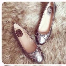 giày búp bê da bóng sọc caro thắt nơ 1372