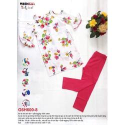 Set áo dài hoa tulip+ quần legging 10-27kg