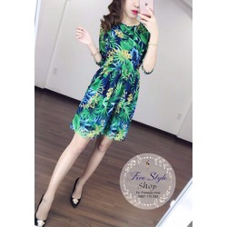 Đầm xòe hoa xanh hàng thiết kế!