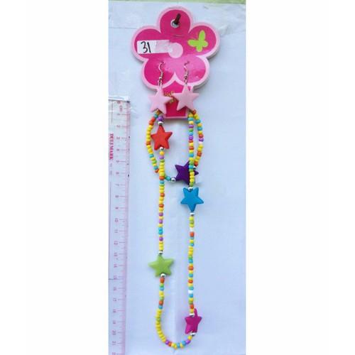bộ set dây chuyền bông tai và vòng đeo cườm nhựa nhiều màu