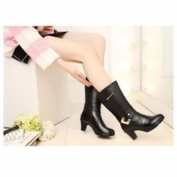 Giày Boot Nữ Da Thật Cổ Cao