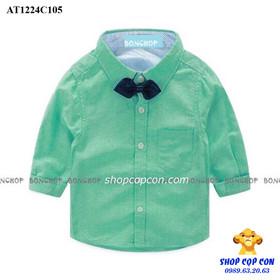 Size 9-14. Áo sơmi tay dài kèm nơ màu xanh lá - AT1224C105
