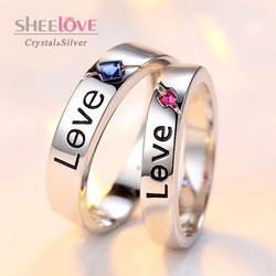Nhẫn đôi tình yêu love đính đá Zircon free size thời trang SPR-JZ065