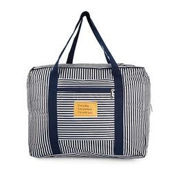 Túi du lịch gấp gọn xinh xắn loại dày chống thấm - sọc xanh