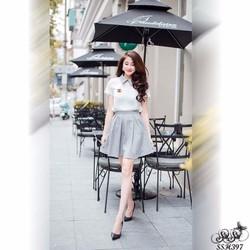 Shop SuSu - Set áo sơ mi phối chân váy xinh xắn