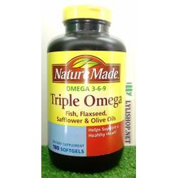 Nature Made Triple Omega 369 chai 180 viên từ Mỹ bổ cho não