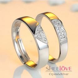 Nhẫn đôi trái tim tình yêu đá Zircon free size xinh xắn SPR-JZ012