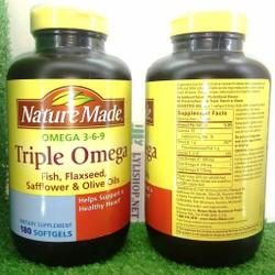 Triple Omega 369 Nature Made hộp 180 viên cho sức khỏe tim mạch