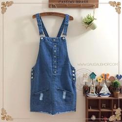 Đầm Yếm Jean Nữ 6 Nút Cài Xinh 085