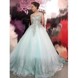 áo cưới xanh ngọc hinh thật xưởng may,giao sỉ giá mềm