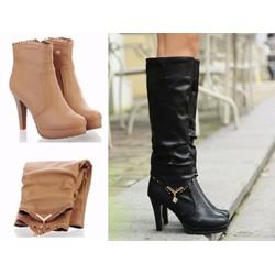 Giày boot cao gót 2 phong cách viền pha lê màu đen