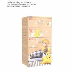 Tủ nhựa Duy Tân Tabi S 5 ngăn- Cam em bé