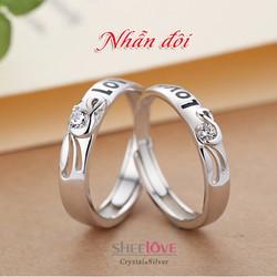 Nhẫn đôi tình yêu đá Zircon xinh xắn thời trang free size SPR-Q005