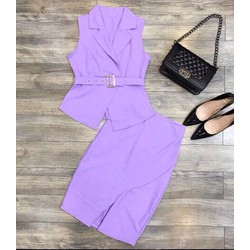 Set áo vest peplum + chân váy ôm