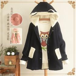 Áo khoác dạ tai gấu phong cách Nhật