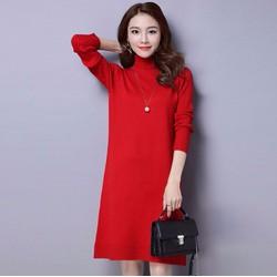 Đầm len suông cổ lọ thời trang cao cấp 2016 - 6240-DX