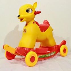 ngựa nai bập bênh có bánh xe