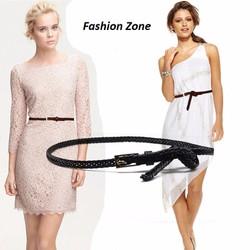thắt lưng nữ bản nhỏ dây PU bện dây da buộc eo thời trang